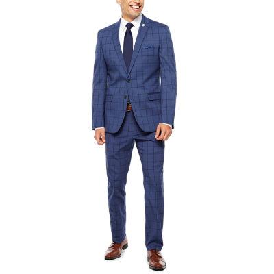 Nick Graham Blue Black Suit Set-Slim