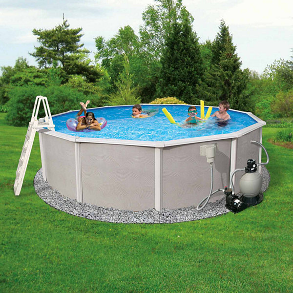 Blue Wave Barcelona Complete 27-ft Round 48-in Deep Metal Wall Pool Pkg