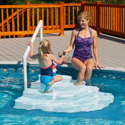Blue Wave Wedding Cake Above Ground Pool Step w/ Liner Pad - White