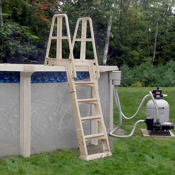 Vinyl Works Premium A-Frame Above Ground Pool Ladder - Taupe