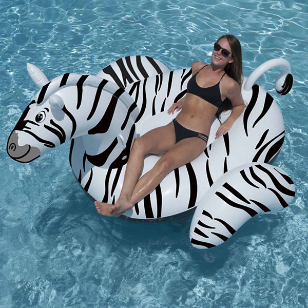 Swimline Giant Zebra 97-in Inflatable Ride-on PoolToy