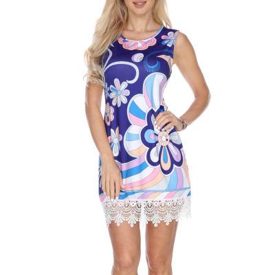 White Mark Grecia Sleeveless Floral Sheath Dress