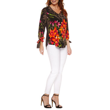 jcpenney.com   Worthington 3/4 Tie Sleeve V Neck T-Shirt and Slim Fit Pull-On Ankle Pant