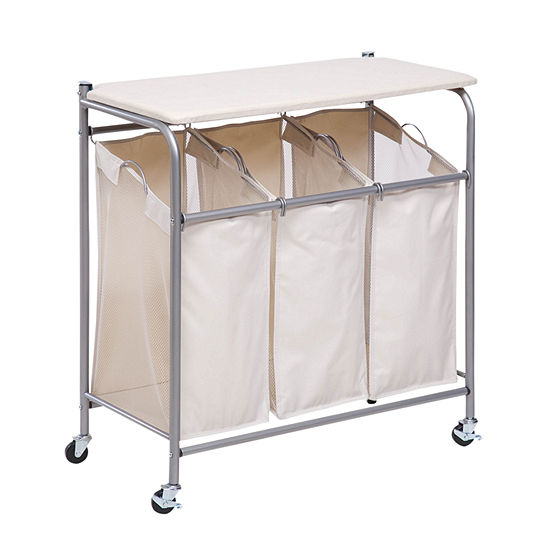 Honey-Can-Do® Rolling Laundry Sorter with Ironing Board
