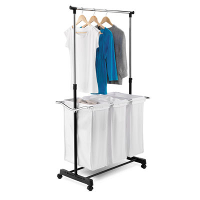 Honey-Can-Do® Rolling Laundry Cart with Hanging Bar