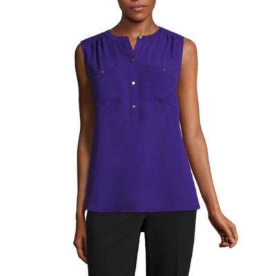 Liz Claiborne Sleeveless Henley Shirt