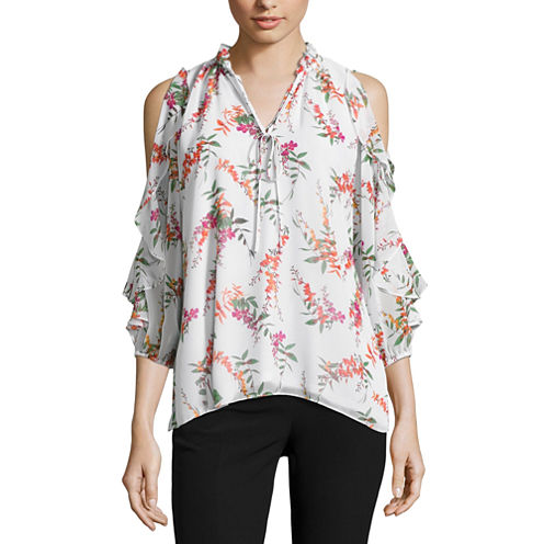Worthington Cold Shoulder Ruffle Sleeve Blouse