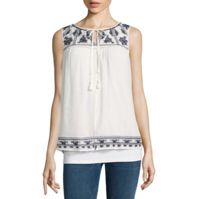 Alyx Sleeveless Round Neck Gauze Blouse