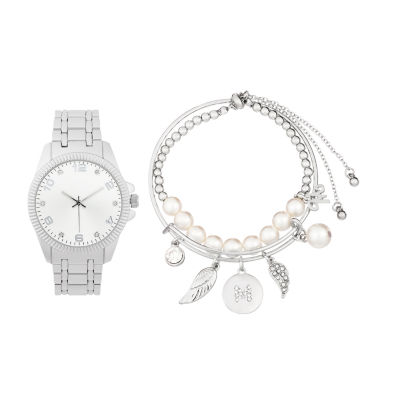 Alexis Bendel M Initial Womens Silver Tone Watch Boxed Set-7151s-42-B28