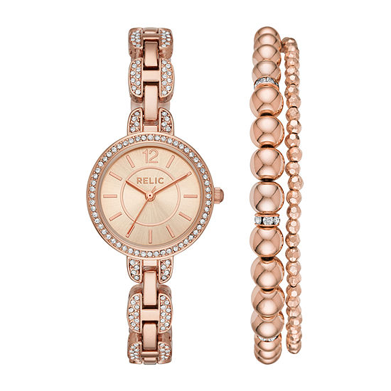 Relic By Fossil Womens Rose Goldtone 2 Pc Watch Boxed Set Zr34503set