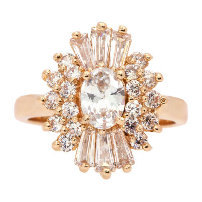 Sparkle Allure Womens 2 1/2 CT. T.W. Cubic Zirconia 14K Gold Over Brass Cocktail Ring