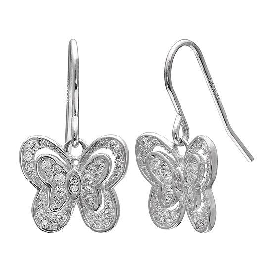Silver Treasures Sterling Silver Butterfly Drop Earrings