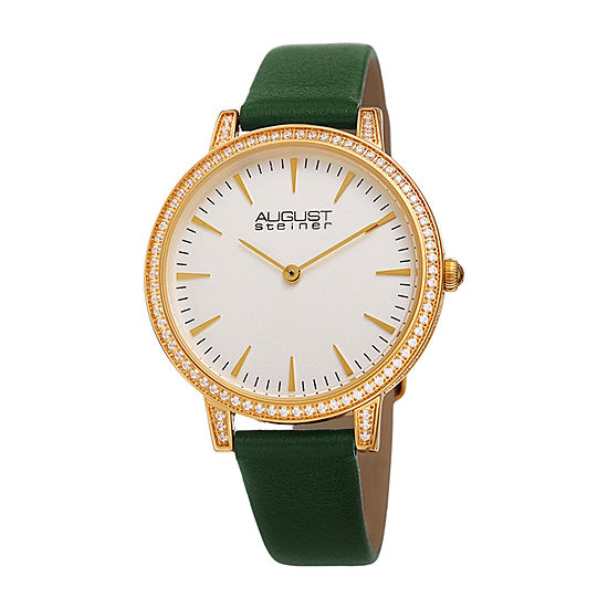 August Steiner Womens Crystal Accent Green Leather Strap Watch-As-8274gn