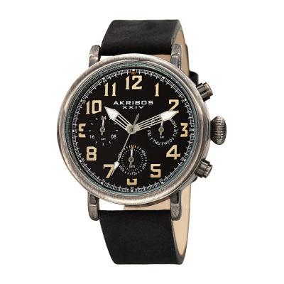 Akribos XXIV Mens Black Strap Watch-A-1028bk