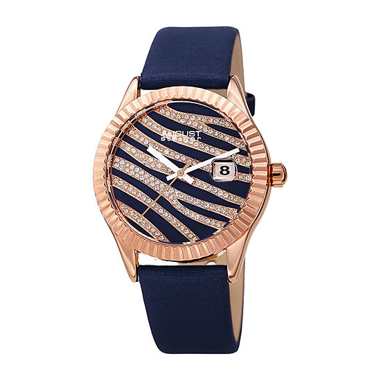August Steiner Womens Crystal Accent Blue Leather Strap Watch-As-8275bu