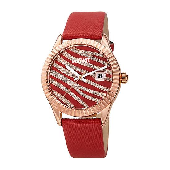 August Steiner Womens Red Strap Watch-As-8275rd