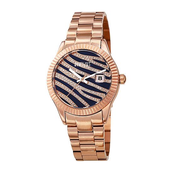 August Steiner Womens Crystal Accent Rose Goldtone Stainless Steel Bracelet Watch-As-8276rgbu