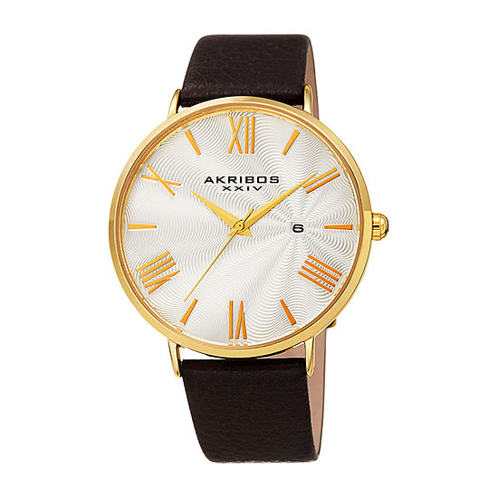 Akribos XXIV Mens Brown Strap Watch-A-1041ygbr