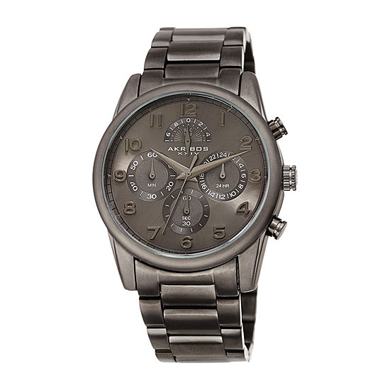Akribos XXIV Mens Chronograph Multi-Function Gray Stainless Steel Bracelet Watch-A-1042gn