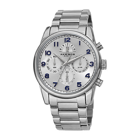 Akribos XXIV Mens Chronograph Multi-Function Silver Tone Stainless Steel Bracelet Watch-A-1042ss
