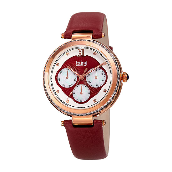 Burgi Womens Multi-Function Red Leather Strap Watch-B-182rd