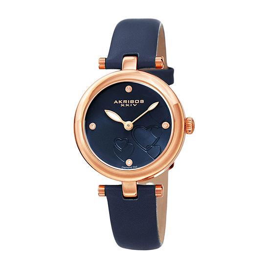 Akribos XXIV Womens Diamond Accent Blue Leather Strap Watch-A-1044bu
