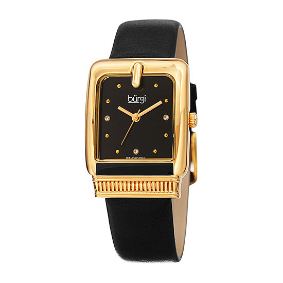 Burgi Womens Diamond Accent Black Leather Strap Watch-B-192bk