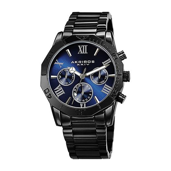 Akribos XXIV Mens Black Bracelet Watch-A-1054bk