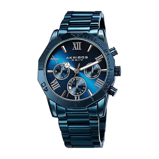 Akribos XXIV Mens Multi-Function Blue Stainless Steel Bracelet Watch-A-1054blu