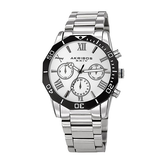 Akribos XXIV Mens Multi-Function Silver Tone Stainless Steel Bracelet Watch-A-1054ss