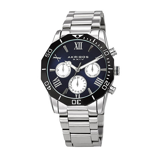 Akribos XXIV Mens Multi-Function Silver Tone Stainless Steel Bracelet Watch-A-1054ssbu