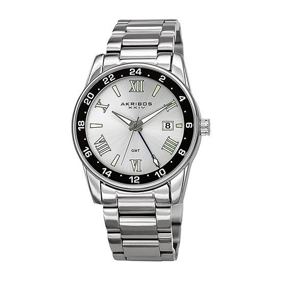Akribos XXIV Mens Silver Tone Bracelet Watch-A-1055ss