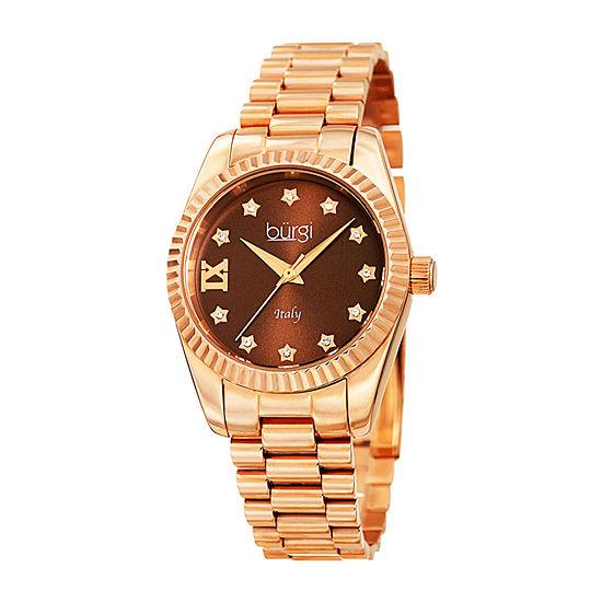 Burgi Womens Rose Goldtone Bracelet Watch-B-194rgbr