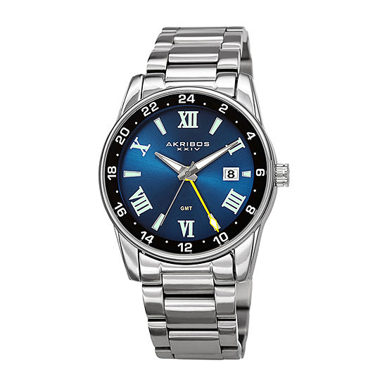 Akribos XXIV Mens Silver Tone Stainless Steel Bracelet Watch-A-1055ssbu