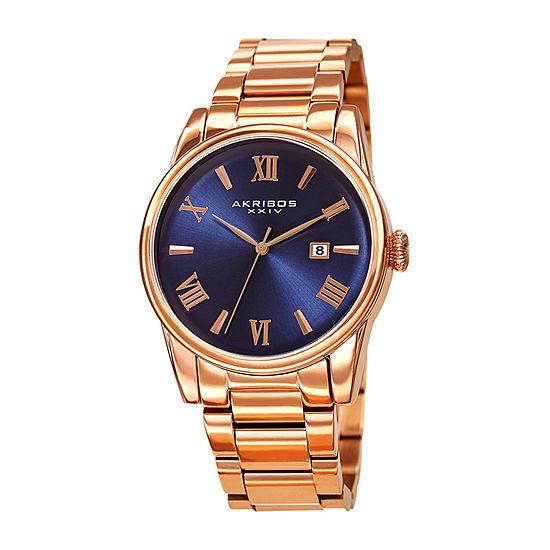 Akribos XXIV Mens Rose Goldtone Stainless Steel Bracelet Watch-A-1056rgbu