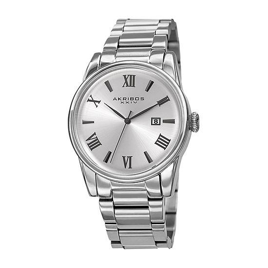 Akribos XXIV Mens Silver Tone Bracelet Watch-A-1056ss