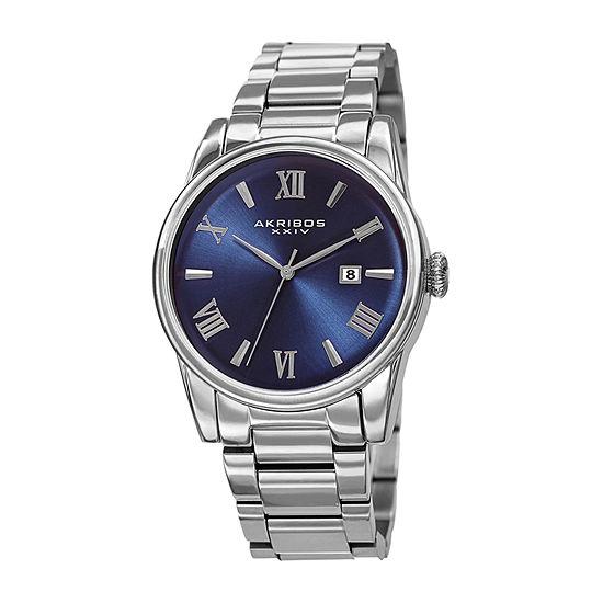 Akribos XXIV Mens Silver Tone Stainless Steel Bracelet Watch-A-1056ssbu