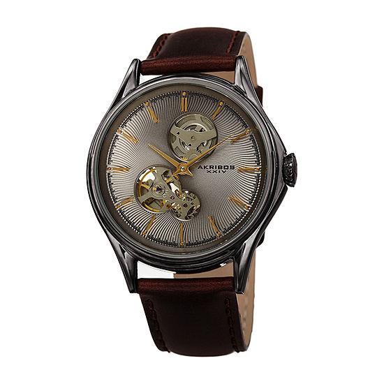 Akribos XXIV Mens Automatic Brown Leather Strap Watch-A-1057gnbr