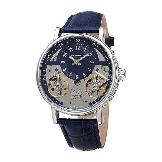 Akribos XXIV Mens Blue Automatic Strap Watch-A-1058ssbu