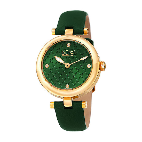 Burgi Womens Diamond Accent Green Leather Strap Watch-B-196gn