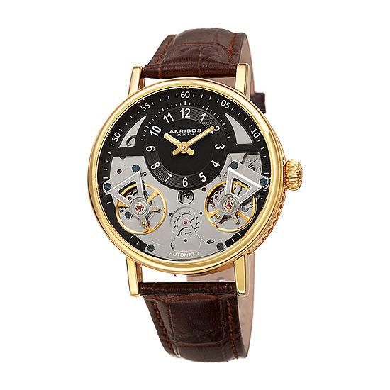 Akribos XXIV Mens Brown Automatic Strap Watch-A-1058ygbr