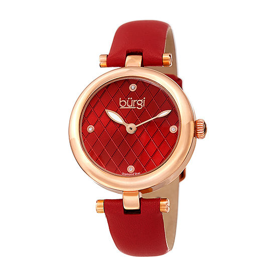 Burgi Womens Diamond Accent Red Leather Strap Watch-B-196rd