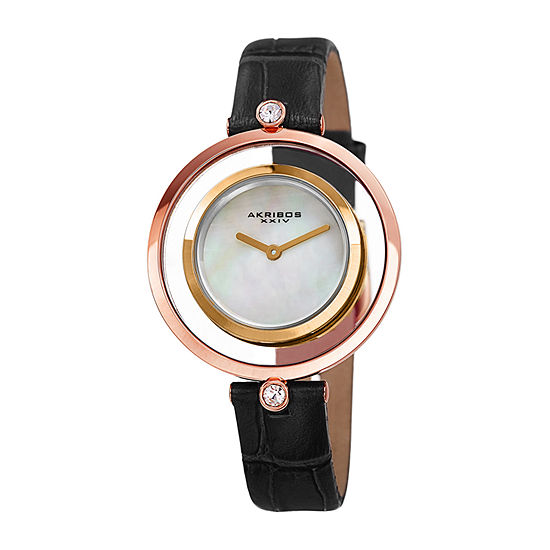 Akribos XXIV Womens Crystal Accent Black Leather Strap Watch-A-1060bk