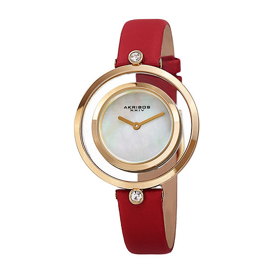 Akribos XXIV Womens Crystal Accent Red Leather Strap Watch-A-1060rd