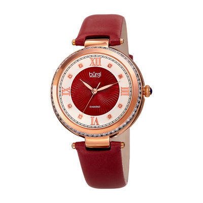 Burgi Womens Red Strap Watch-B-202rd