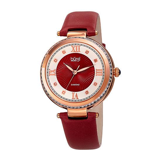 Burgi Womens Red Strap Watch-B-202rd