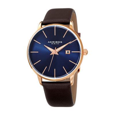 Akribos XXIV Mens Brown Strap Watch-A-1064rgbu