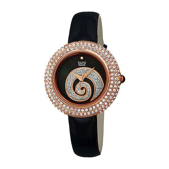 Burgi Womens Diamond Accent Crystal Accent Black Leather Strap Watch-B-209bkr