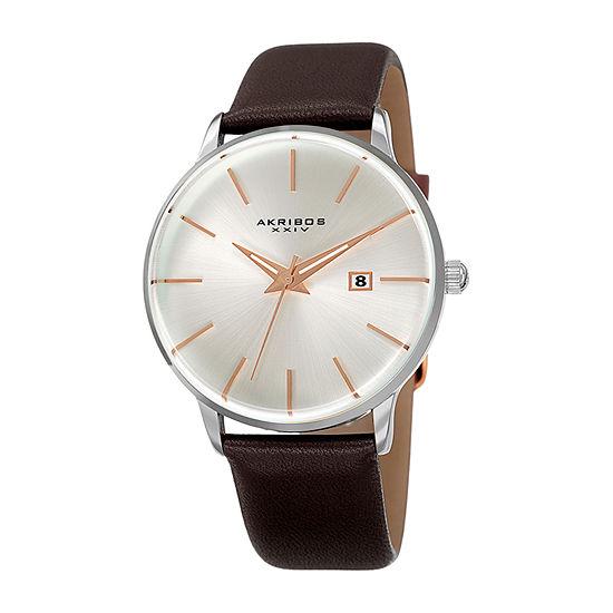 Akribos XXIV Mens Brown Leather Strap Watch-A-1064ss