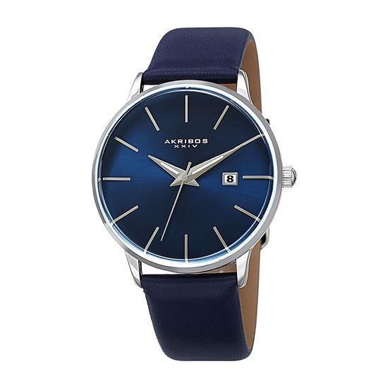 Akribos XXIV Mens Blue Strap Watch-A-1064ssbu